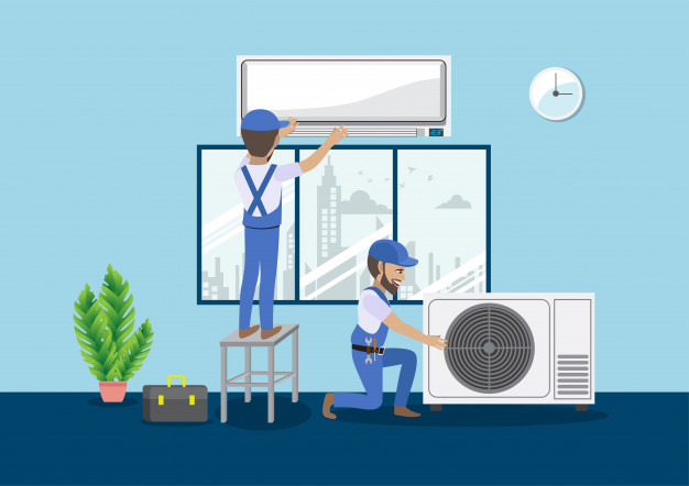 teamwork-concept-with-technician-repair-split-air-conditioner-cartoon-character_3559-1308